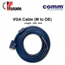 Comm VGA Cable, Molded to Open End (5 Coil), 30m
