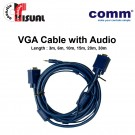 Comm VGA Cable, Both Sides Molded with Audio, 30m