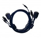 Comm VGA Cable, Both sides Molded with Audio +  USB, 2m